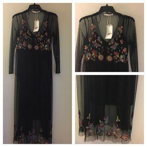 742f2f07 Zara Dresses   Beaded Embroidered Mesh Dress Midi   Poshmark